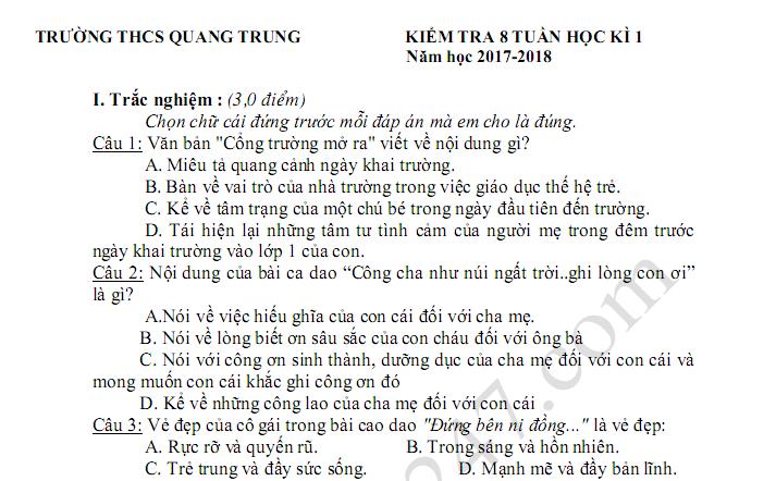 Đề thi 8 tuần học kì 1 lớp 7 môn Văn 2018 - THCS Quang Trung