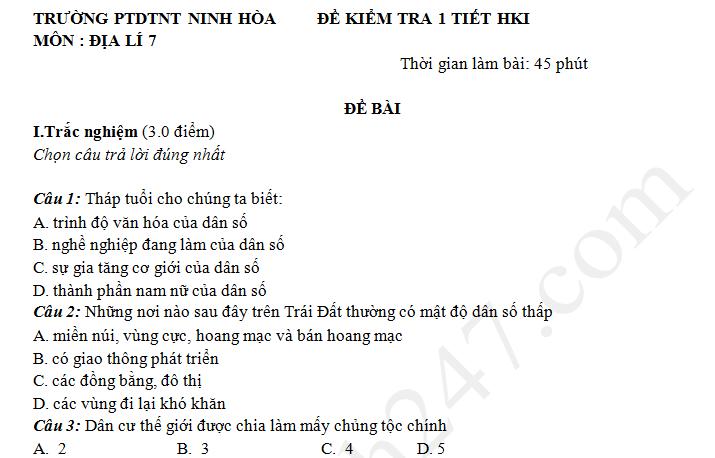 Đề kiểm tra giữa kì 1 lớp 7 môn Địa 2018 - THCS Ninh Hòa
