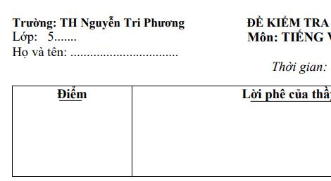 Đề thi giữa học kỳ 1 môn Tiếng Việt lớp 5 năm 2018 - TH Nguyễn Tri Phương