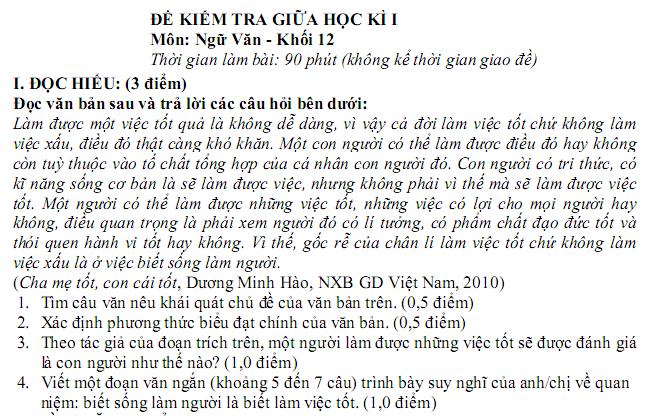 Đề thi giữa kì 1 môn Văn lớp 12 năm 2018 - THPT Nguyễn Khuyến