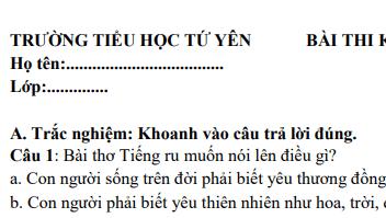 Đề thi giữa học kì 1 lớp 3 môn Tiếng Việt năm 2018- TH Tứ Yên