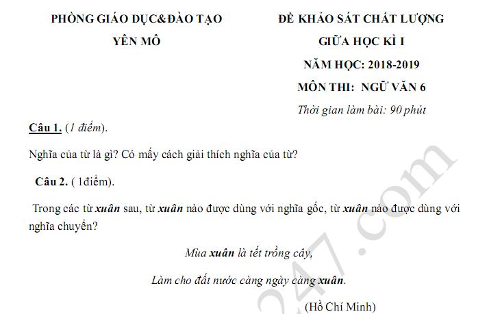 Đề kiểm tra giữa kì 1 lớp 6 môn Văn 2018 - 2019 Phòng GD Yên Mô
