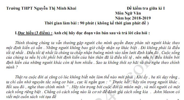 Đề thi giữa kì 1 lớp 11 môn Văn - THPT Nguyễn Thị Minh Khai năm 2018 - 2019