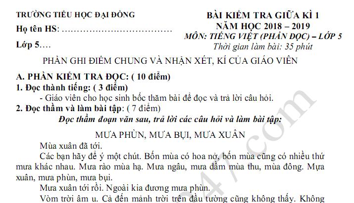 Đề thi giữa kì 1 lớp 5 môn Tiếng Việt - TH Đại Đồng năm 2018