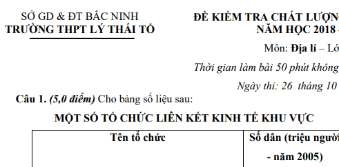 Đề thi giữa học kì 1 lớp 11 môn Địa - THPT Lý Thái Tổ năm 2018