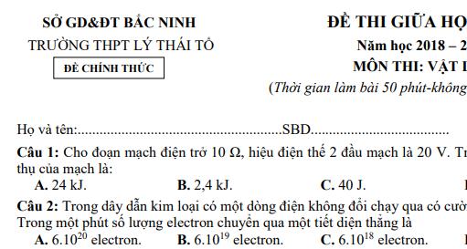 Đề thi giữa học kì 1 lớp 11 môn Lý - THPT Lý Thái Tổ năm 2018