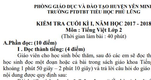 Đề thi học kì 1 lớp 2 môn Tiếng Việt năm 2018 - Tiểu học Phú Lũng