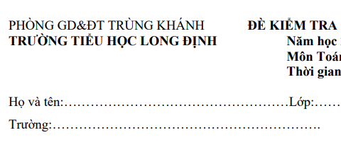 Đề thi học kì 1 môn Toán lớp 2 năm 2018 - Tiểu học Long Định