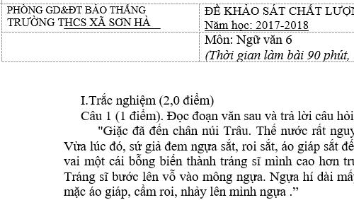 Đề thi học kì 1 lớp 6 môn Văn năm 2018 - THCS xã Sơn Hà