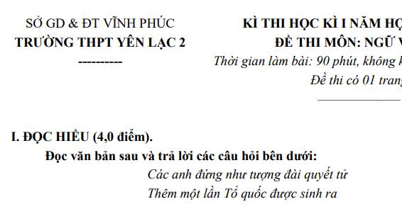 Đề thi học kì 1 lớp 11 môn Văn năm 2018 - THPT Yên Lạc 2
