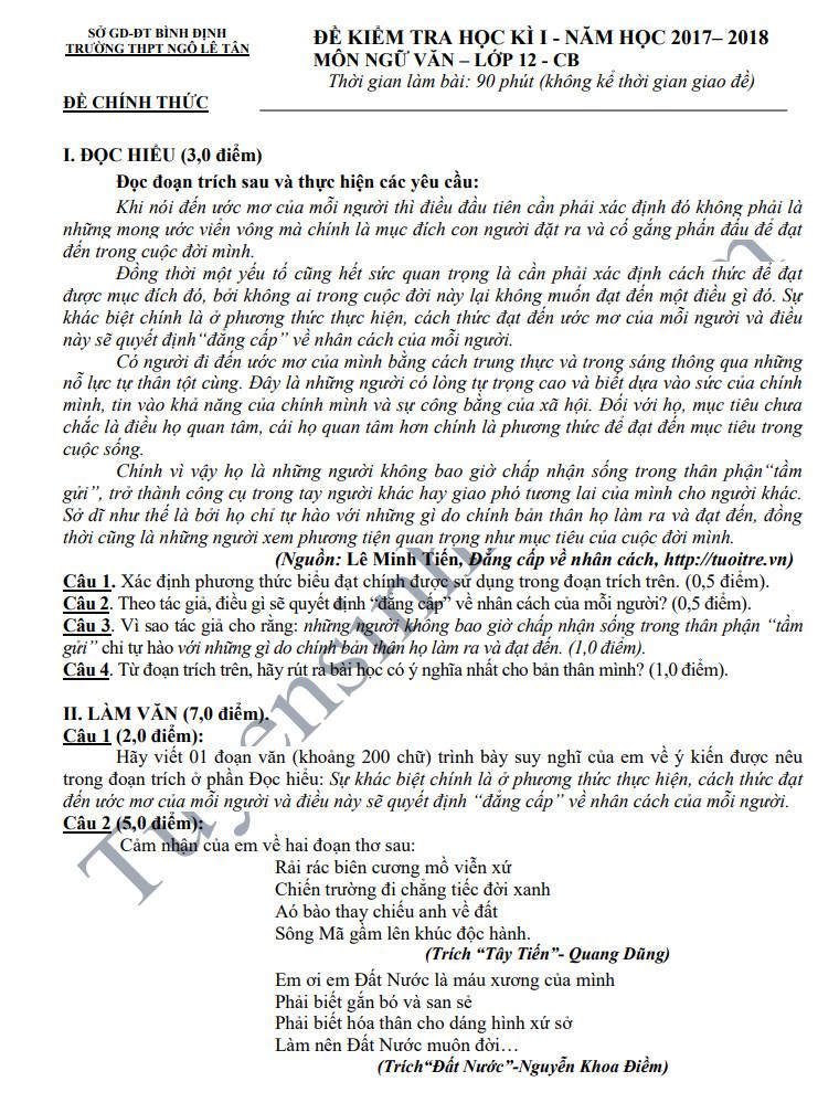 Đề thi học kỳ 1 lớp 12 môn Văn năm 2018 - THPT Ngô Lê Tân