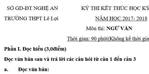 Đề thi cuối học kỳ 1 lớp 10 môn Văn năm 2018 - THPT Lê Lợi
