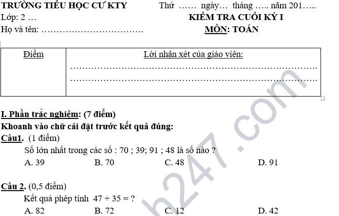 Đề thi học kỳ 1 lớp 2 môn Toán năm 2018 - Tiểu học Cư Kty