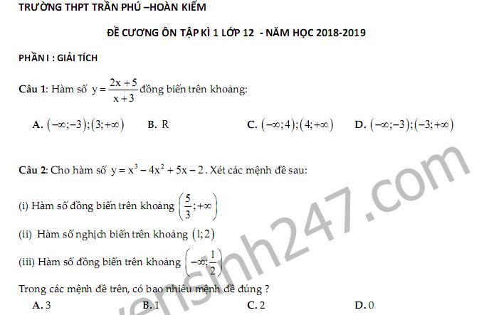 Đề cương ôn tập kì 1 lớp 12 môn Toán - THPT Trần Phú năm 2018