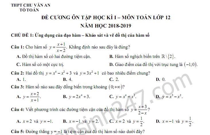 Đề cương ôn tập kì 1 lớp 12 môn Toán năm 2018 - THPT Chu Văn An