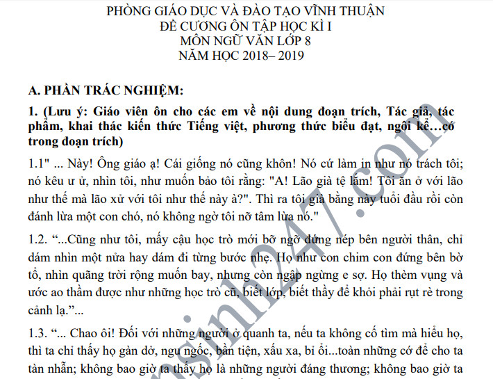 Đề cương ôn tập kì 1 lớp 8 môn Văn năm 2018 - THCS Thị Trấn Vĩnh Thuận