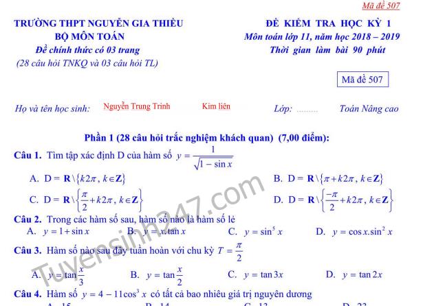 Đề thi kì 1 lớp 12 môn Toán - THPT Nguyễn Gia Thiều năm 2018 - 2019