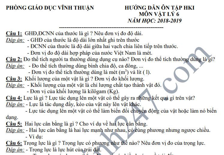 Đề cương ôn tập kì 1 lớp 6 môn Lý năm 2018 - THCS Thị Trấn Vĩnh Thuận