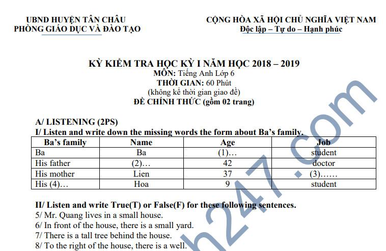 Đề thi học kỳ 1 lớp 6 môn Anh năm 2018 - Phòng GD Tân Châu