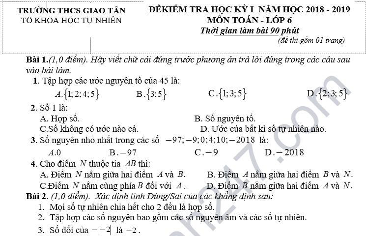 Đề thi học kỳ 1 lớp 6 môn Toán năm 2018 - THCS Giao Tân