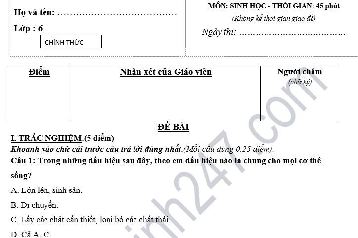 Đề thi học kỳ 1 lớp 6 môn Sinh năm 2018 - THCS Nguyễn Gia Thiều