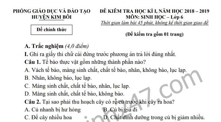Đề kiểm tra học kì 1 lớp 6 môn Sinh năm 2018 Huyện Kim Bôi