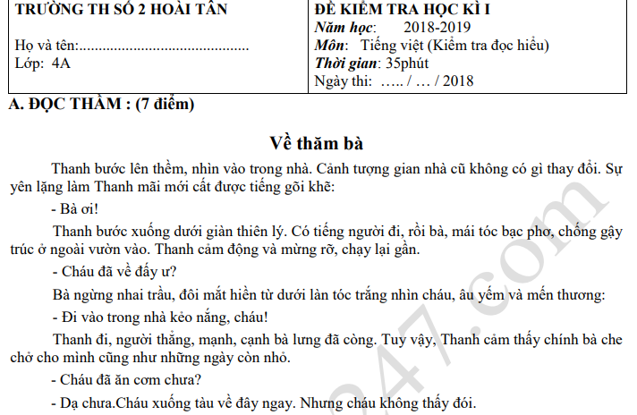 Đề thi kì 1 môn Tiếng Việt lớp 4 năm 2018 - TH Số 2 Hoài Tân
