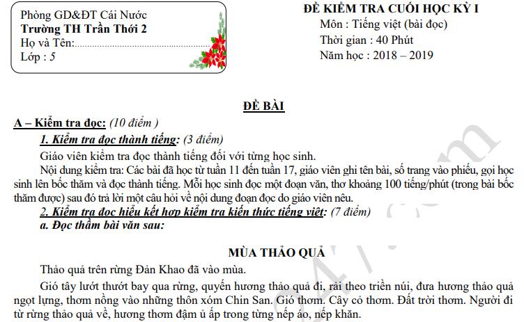 Đề thi kì 1 môn Tiếng Việt lớp 5 năm 2018 - TH Trần Thới 2
