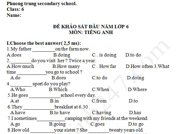 Đề khảo sát đầu năm lớp 6 môn Anh - THCS Phương Trung