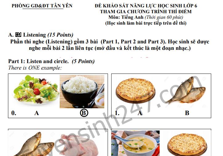 Đề khảo sát năng lực học sinh lớp 6 môn Anh Phòng GD Tân Yên