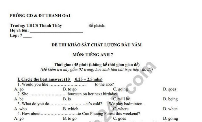 Đề khảo sát chất lượng đầu năm môn Anh lớp 7-THCS Thanh Thùy