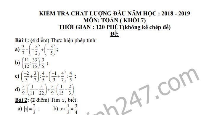 Đề khảo sát đầu năm môn Toán lớp 7-THCS Long Hòa