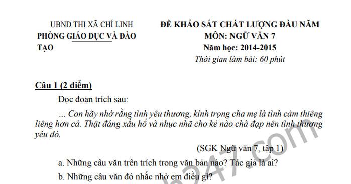 Đề khảo sát chất lượng đầu năm môn Văn lớp 7 thị xã Chí Linh