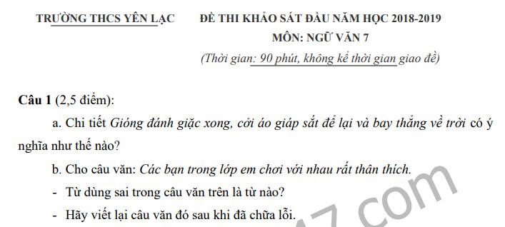 Đề khảo sát chất lượng đầu năm môn Văn lớp 7- THCS Yên Lạc