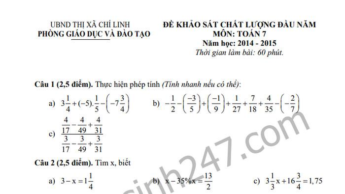Đề khảo sát chất lượng đầu năm môn Toán lớp 7 thị xã Chí Linh