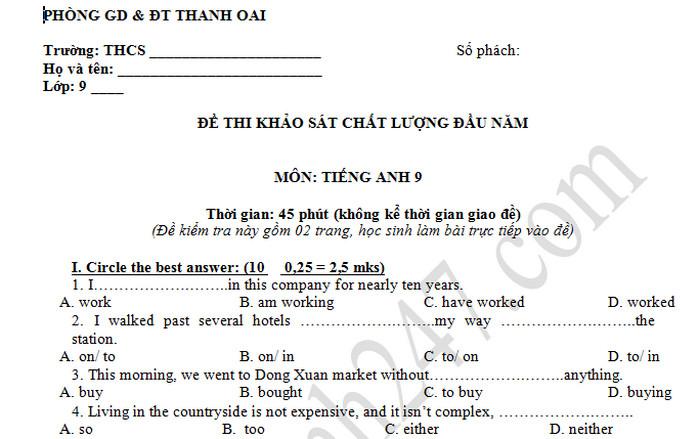 Đề Khảo sát chất lượng đầu năm lớp 9 môn Anh - Thanh Oai