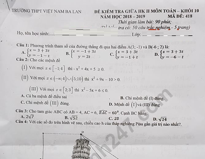 Đề kiểm tra giữa kì 2 lớp 10 môn Toán - THPT Việt Nam Ba Lan 2019