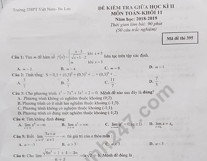 Đề kiểm tra giữa kì 2 môn Toán lớp 11 THPT Việt Nam Ba Lan 2019