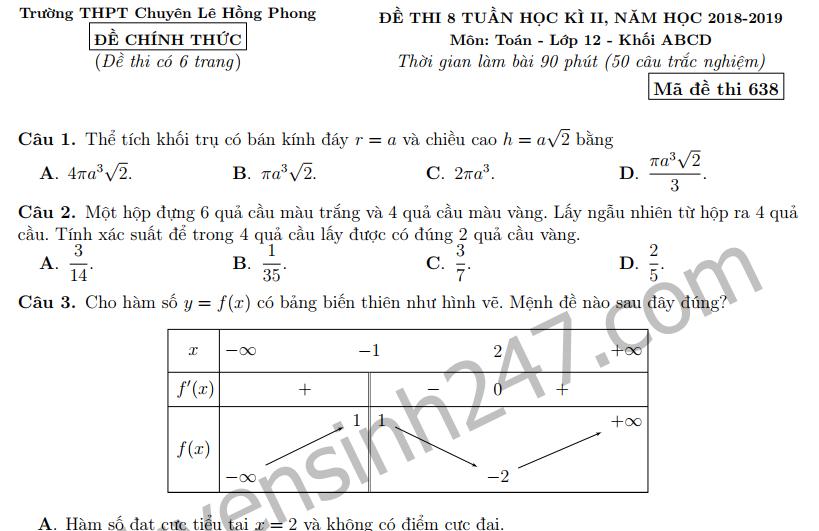 Đề thi giữa kì 2 lớp 12 môn Toán 2019 - Chuyên Lê Hồng Phong