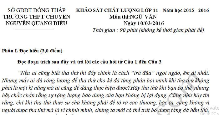 Đề thi giữa học kì 2 môn Văn lớp 11 - THPT Chuyên Nguyễn Quang Diêu