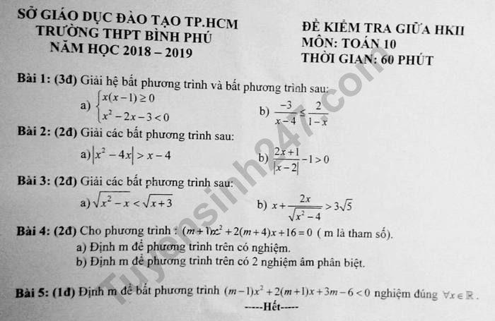 Đề kiểm tra giữa kì 2 lớp 10 môn Toán 2019 - THPT Bình Phú