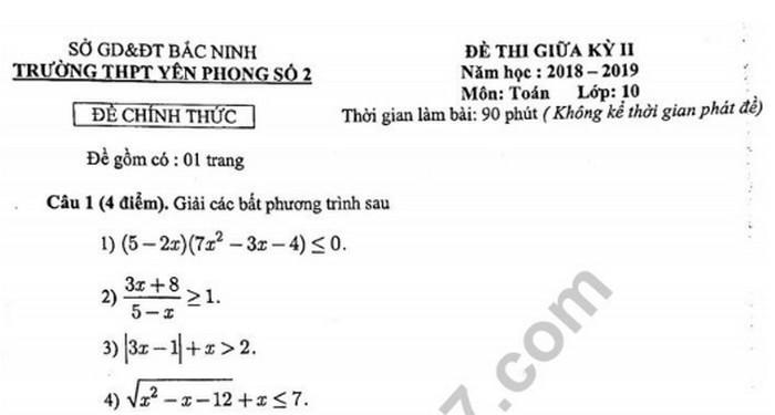 Đề thi giữa học kì 2 lớp 10 môn Toán - THPT Yên Phong Số 2 năm 2019