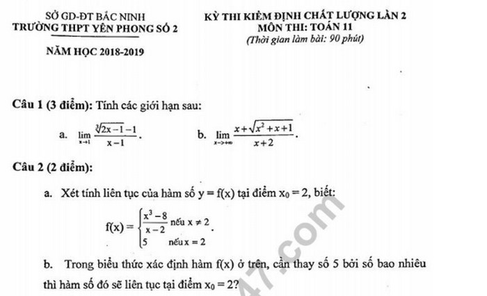 Đề thi giữa kì 2 lớp 11 môn Toán - THPT Yên Phong Số 2 năm 2019