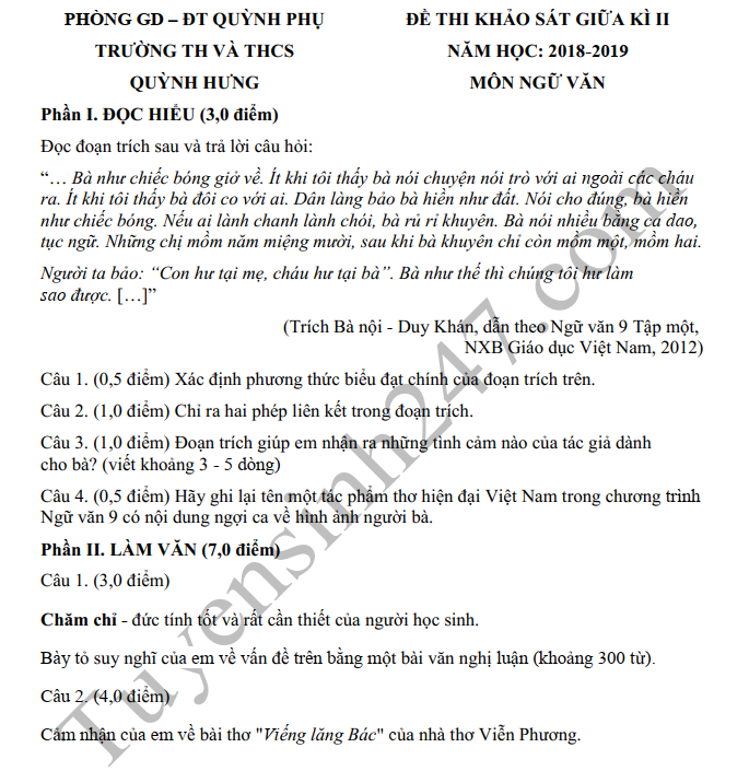 Đề thi giữa kì 2 môn Văn lớp 9 - THCS Quỳnh Hưng 2019