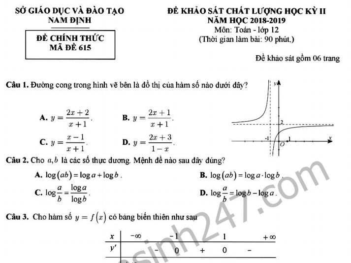 Đề thi kì 2 lớp 12 môn Toán Sở GD Nam Định 2019