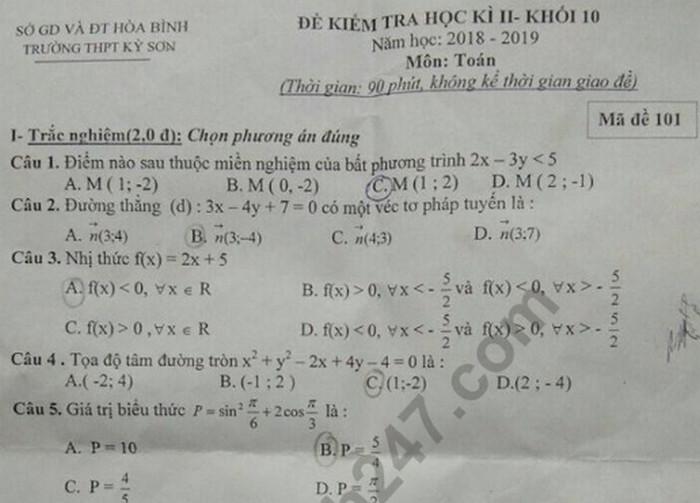 Đề thi kì 2 lớp 10 môn Toán - THCS Kỳ Sơn năm 2019