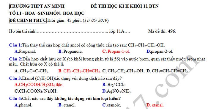 Đề kì 2 lớp 11 môn Hóa  - THPT An Minh năm 2019