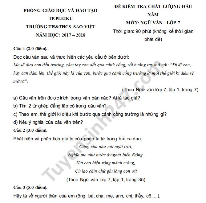 Đề kiểm tra đầu năm môn Văn lớp 7 THCS Sao Việt 2018
