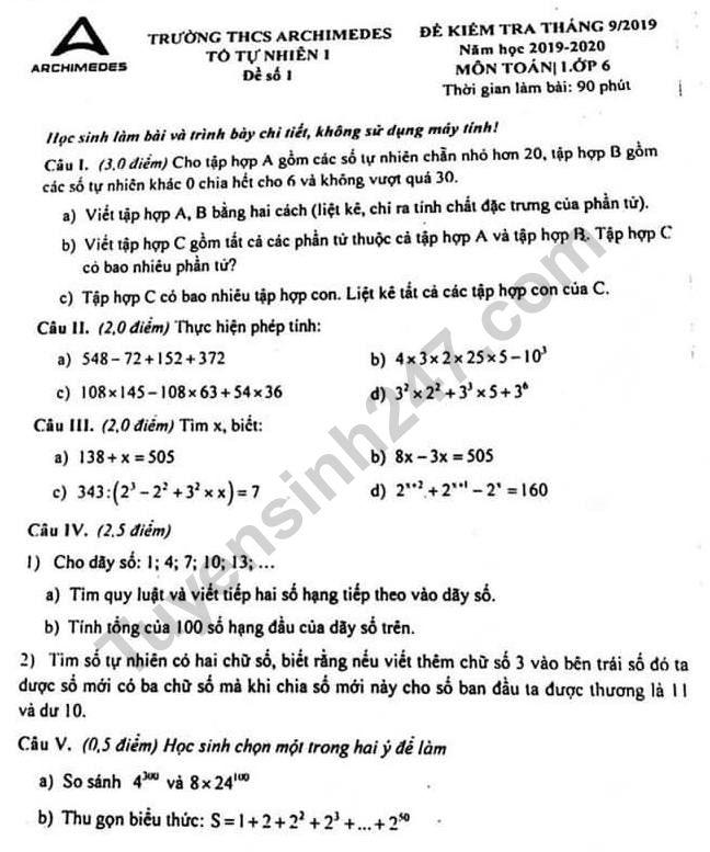 Đề kiểm tra lớp 6 môn Toán tháng 9/2019 - THCS Archimedes