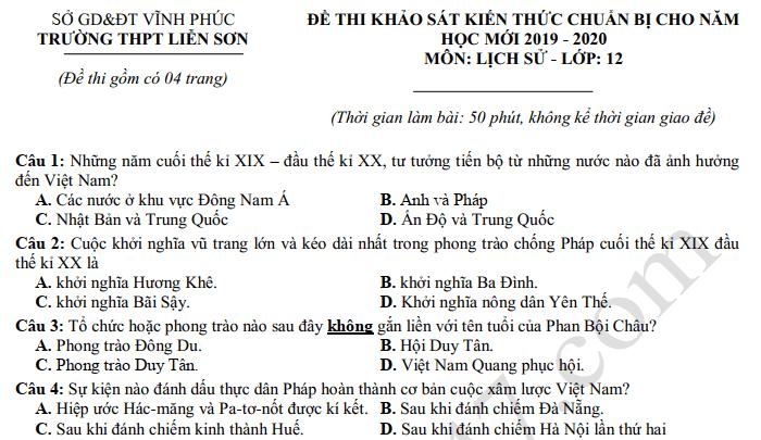 Đề khảo sát môn Sử lớp 12 năm 2019 - THPT Liễn Sơn